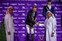 Sheikh / Scheich Joaan bin Hamad bin Khalifa Al Thani, Vertreter von Commercial Bank gratuliert KUEHNER Max (AUT), DEUSSER Daniel (GER), BOST Roger Yves (FRA)<br /> Doha - CHI Al SHAQAB 2020<br /> Siegerehrung<br /> Commercial Bank CHI Al Shaqab Grand Prix presented by LONGINES<br /> Int. jumping competition over two rounds and jump-off (1.60 m)<br /> 29. Februar 2020<br /> © www.sportfotos-lafrentz.de/Stefan Lafrentz