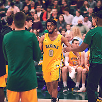 4th year guard, Greishe Clerjuste (0) of the Regina Cougars during the Men's Basketball Home Game on Fri Feb 01 at Centre for Kinesiology,Health and Sport. Credit: Arthur Ward/Arthur Images