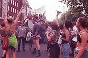 Ravers protesting on the streets, 2nd Criminal Justice March, Victoria, London, UK, 23rd of July 1994.