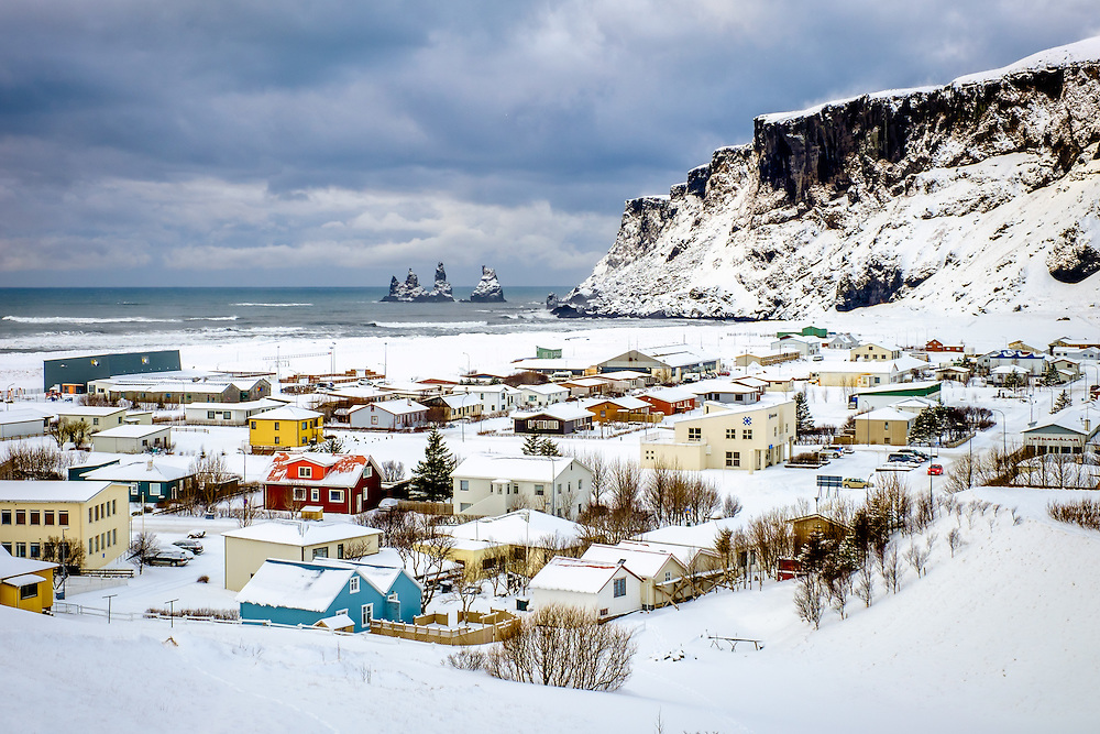 VIK, ICELAND - CIRCA MARCH 2015: View of the town of Vik during winter time in Iceland