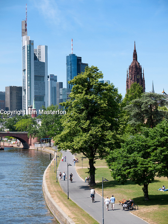 Skyline of financial district and riverside park  of Frankurt am Main in Hesse Germany
