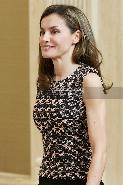 Queen Letizia of Spain attends an audience to a representation of the Collective Association of Popular Culture Alhama at Zarzuela Palace on June 8, 2017 in Madrid