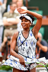 PARIS, June 3, 2017  Venus Williams of the U.S. celebrates her victory after the women's singles 3rd round match against Elise Mertens of Belgium at the French Open Tennis Tournament 2017 in Paris, France on June 2, 2017. Venus Williams won 2-0. (Credit Image: © Chen Yichen/Xinhua via ZUMA Wire)