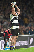 Twickenham, Surrey. England.   Baa Baa' Hooker Akker van der MERWE, throw's the line out ball, during the Killik Cup, Barbarians vs New Zealand. Twickenham. UK<br /> <br /> Saturday  04.11.17<br /> <br /> [Mandatory Credit Peter SPURRIER/Intersport Images]