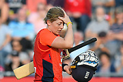 Wicket - Heather Knight of England looks dejected as she walks back to the pavilion after being run out by Ellyse Perry of Australia  by during the 3rd Vitality International T20 match between England Women Cricket and Australia Women at the Bristol County Ground, Bristol, United Kingdom on 31 July 2019.