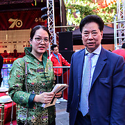 Chu Ting Tang of London Chinatown Chinese  Association and 黄萍,Ping Huang attend the Celebration of the Moon festival - The big feast for the chinese community and the 70th Anniversary of China at Chinatown Square on the 15th September 2019, London, UK.