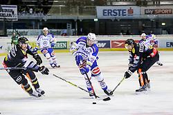 22.11.2016, Messestadion, Dornbirn, AUT, EBEL, Dornbirner Eishockey Club vs EC VSV, 22. Runde, im Bild v. l. Corin Konradsheim, (Dornbirner Eishockey Club, #07), Valentin Leiler, (EC VSV, #18) und Martin Grabher Meier, (Dornbirner Eishockey Club, #91) // during the Erste Bank Icehockey League 22th round match between Dornbirner Eishockey Club and EC VSV at the Messestadion in Dornbirn, Austria on 2016/11/22, EXPA Pictures © 2016, PhotoCredit: EXPA/ Peter Rinderer