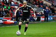 Wimbledon midfielder Mitch Pinnock (11) in action  during the The FA Cup 3rd round match between Fleetwood Town and AFC Wimbledon at the Highbury Stadium, Fleetwood, England on 5 January 2019.