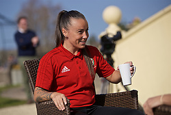 CARDIFF, WALES - Monday, April 1, 2019: Wales' Natasha Harding during a media session at the Vale Resort ahead of a friendly against the Czech Republic. (Pic by David Rawcliffe/Propaganda)