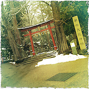 Photo shows the mon gate at Oyaki Shrine, which is devoted to the Paper Goddess in Echizen, Fukui Prefecture, Japan on 21 Feb. 2013. Photographer: Robert Gilhooly  .