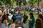 AUGUST 26, 2018  ATHENS, OHIO:<br /> New freshman students walk on College green through a variety of recruitment tables from other organizations on the OU campus trying to get them to join after the freshman convocation at Ohio University on August 26, 2018 in Athens, Ohio.