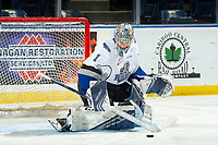 KELOWNA, BC - NOVEMBER 6:  Shane Farkas #1 of the Victoria Royals warms up in net against the Kelowna Rockets at Prospera Place on November 6, 2019 in Kelowna, Canada. (Photo by Marissa Baecker/Shoot the Breeze)