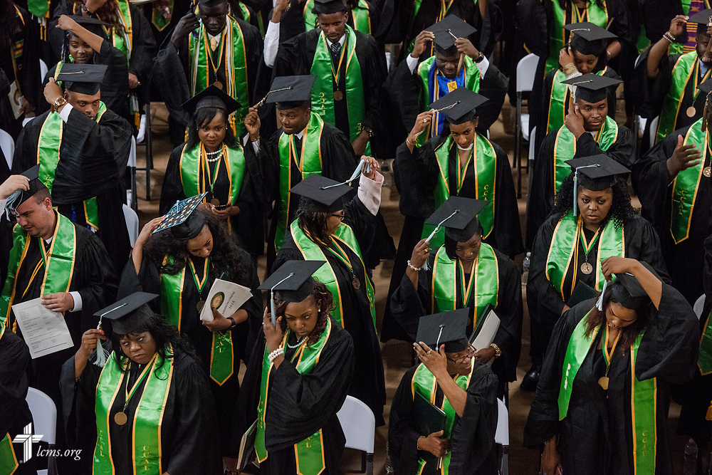 Graduates turn their tassels at the end of the 92nd and final Commencement Exercises on Saturday, April 28, 2018, in the Julius and Mary Jenkins Center at Concordia College Alabama in Selma, Ala. LCMS Communications/Erik M. Lunsford