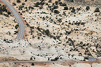 Road through barren desert elevated view