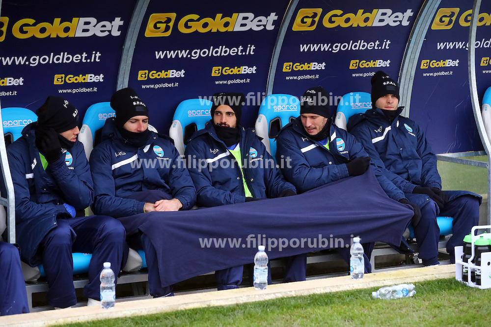 "Foto Filippo Rubin<br /> 10/12/2016 Ferrara (Italia)<br /> Sport Calcio<br /> Spal vs Spezia - Campionato di calcio Serie B ConTe.it 2016/2017 - Stadio ""Paolo Mazza""<br /> Nella foto: FREDDO NELLA PANCHINA SPAL<br /> <br /> Photo Filippo Rubin<br /> December 10, 2016 Ferrara (Italy)<br /> Sport Soccer<br /> Spal vs Spezia - Italian Football Championship League B ConTe.it 2016/2017 - ""Paolo Mazza"" Stadium <br /> In the pic: REALLY COLD DAY FOR SPAL'S PLAYERS"