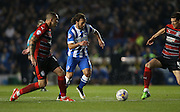Inigo Calderon, Brighton defender during the Sky Bet Championship match between Brighton and Hove Albion and Huddersfield Town at the American Express Community Stadium, Brighton and Hove, England on 14 April 2015.