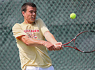 Coe's Victor Khristenko eyes the ball during his match against Luther's Ramesh Karki in the Iowa Conference Men's Tennis Championships at Veterans Memorial Tennis Center in Cedar Rapids on Saturday afternoon, May 5, 2012. (Stephen Mally/Freelance)