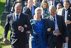 © Licensed to London News Pictures. 30/09/2015. Leeds, UK. Picture shows Left to right Brian Close's son Lance & wife Viv. A Remembrance service has taken place for former Yorkshire & England cricket captain Brian Close. Mr Close died at his home in Baildon aged 84 after a long battle with cancer. Photo credit: Andrew McCaren/LNP