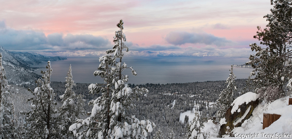 """Winter Sunrise Over Lake Tahoe 3"" - The sun rises over Lake Tahoe from the Mt. Rose overlook, with the town of Incline Village below."