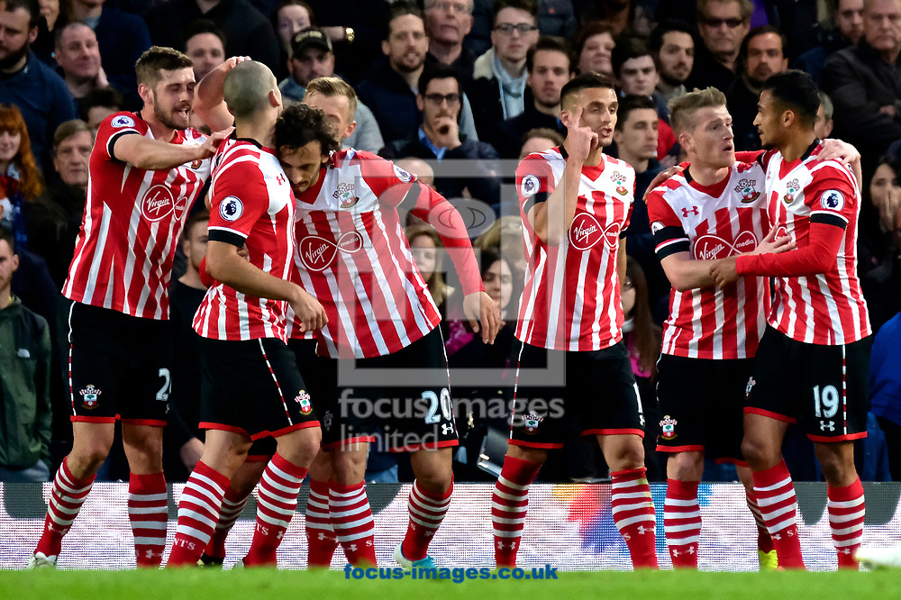 Southampton players celebrates scoring their first goal to make it Chelsea 1 Southampton 1 during the Premier League match at Stamford Bridge, London<br /> Picture by Kristian Kane/Focus Images Ltd +44 7814 482222<br /> 25/04/2017