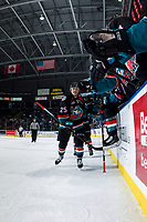 KELOWNA, CANADA - OCTOBER 10:  Kyle Crosbie #25 of the Kelowna Rockets celebrates his first WHL goal against the Seattle Thunderbirds on October 10, 2018 at Prospera Place in Kelowna, British Columbia, Canada.  (Photo by Marissa Baecker/Shoot the Breeze)  *** Local Caption ***