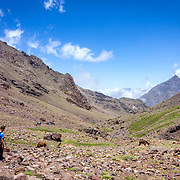 Toubkal national park, the peak whit 4,167m is the highest in the Atlas mountains and North Africa, trekking trail landscape panoramic view. Morocco