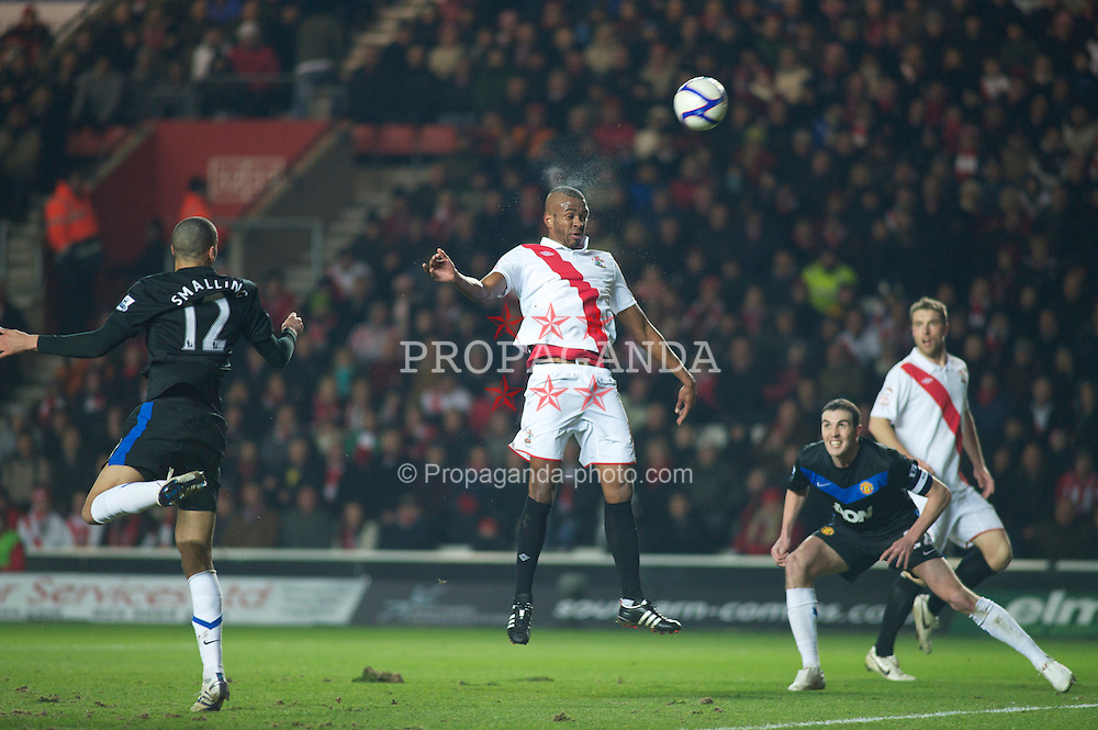 SOUTHAMPTON, ENGLAND - Saturday, January 29, 2011: Southampton's Guilherme do Prado fails to find the back of the net during the FA Cup 4th Round match at St. Mary's Stadium. (Photo by Gareth Davies/Propaganda)