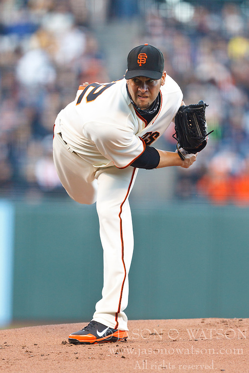SAN FRANCISCO, CA - JULY 23: Ryan Vogelsong #32 of the San Francisco Giants pitches against the San Diego Padres during the first inning at AT&T Park on July 23, 2012 in San Francisco, California. (Photo by Jason O. Watson/Getty Images) *** Local Caption *** Ryan Vogelsong