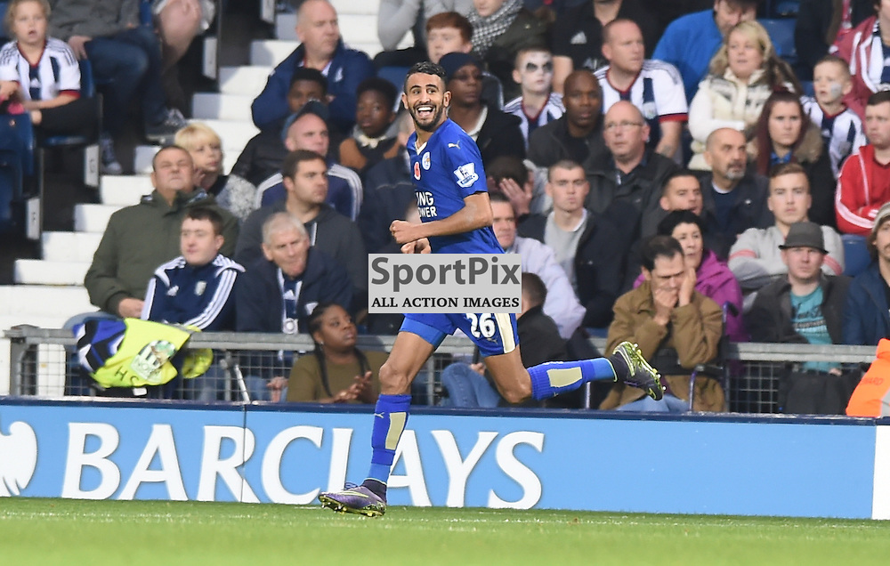 a delighted Riyad Mahrez has just scored his second goal of the game (c) Simon Kimber | SportPix.org.uk