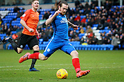 Peterborough United striker Jack Marriott (14) gets in a shot during the EFL Sky Bet League 1 match between Peterborough United and Southend United at London Road, Peterborough, England on 3 February 2018. Picture by Nigel Cole.