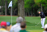 Russell Knox chips onto the second green during the final round of the RBC Heritage golf tournament in Hilton Head Island, S.C., Sunday, April 20, 2014. (AP Photo/Stephen B. Morton)