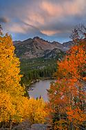 North America, American, USA, Rocky Mountains, Colorado, Rocky ,National Park, Bear Lake and foliage