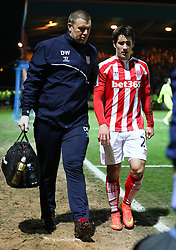 Stoke City's Bojan Krkic leaves the pitch after picking up an injury - Photo mandatory by-line: Matt McNulty/JMP - Mobile: 07966 386802 - 26/01/2015 - SPORT - Football - Rochdale - Spotland Stadium - Rochdale v Stoke City - FA Cup Fourth Round