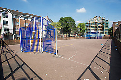 © London News Pictures. 16/05/2014. London, UK. A Basket Ball court play area on Stamford Close, Tottenham, North London, where missing 9 year-old Daequan George was last seen at 8pm last night (Thurs).  Police are increasingly concerned about the welfare of Daequan George, who is described as black, 4ft 8ins tall, of medium build with short black hair. Photo credit: Ben Cawthra/LNP
