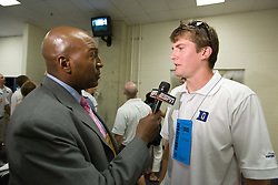 26 May 2007: Duke Blue Devils midfielder Ed Douglas (8) talks with media in the locker room after a 12-11 win over the Cornell Big Red in the NCAA Semifinals at M&T Bank Stadium in Baltimore, MD.