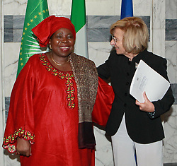 June 26, 2013 - Roma, ITALIA - Chairperson of the African Union Commission (UAC) Nkosazana Dlamini-Zuma (L) during the meeting with Italian Foreign Minister, Emma Bonino, at Farnesina Palace in Rome, Italy, 26 June 2013..ANSA/FABIO CAMPANA (Credit Image: © ANSA/ZUMAPRESS.com)