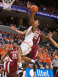 Virginia guard Sylven Landesberg (15) hits a layup in the last second of the FSU game.  The Virginia Cavaliers fell to the Florida State Seminoles 73-62 in NCAA Basketball at the John Paul Jones Arena on the Grounds of the University of Virginia in Charlottesville, VA on January 24, 2009.