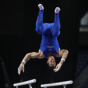 Danell Leyva, Homestead, Florida, in action on the Parallel bars during the Senior Men Competition at The 2013 P&G Gymnastics Championships, USA Gymnastics' National Championships at the XL, Centre, Hartford, Connecticut, USA. 16th August 2013. Photo Tim Clayton