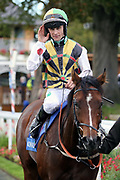 GULLIVER (4) ridden by by Jason Hart and trained by David OMeara return to the Winners Enclosure after winning The Coral Sprint Trophy over 6f (£100,000) at 16/1   during the York Coral Sprint Trophy meeting at York Racecourse, York, United Kingdom on 12 October 2019.