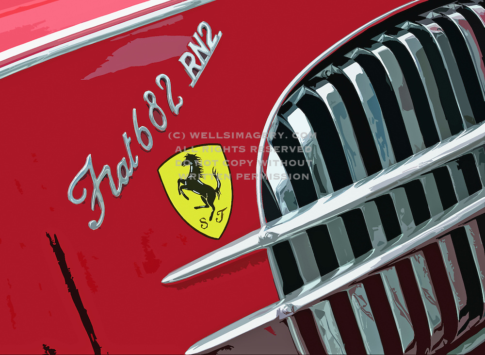 Image of a grille that sparkles on a vintage Fiat  682 RN2 tractor trailer for Ferrari, Bellevue, Washington, Pacific Northwest