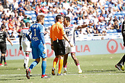 Depay Memphis of Lyon and Referee Schneider Frank and Gurtner Régis of Amiens during the French championship L1 football match between Olympique Lyonnais and Amiens on August 12th, 2018 at Groupama stadium in Decines Charpieu near Lyon, France - Photo Romain Biard / Isports / ProSportsImages / DPPI