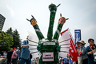 A man wears a monster suit of Shinzo Abe and Donald Trump during the May Day rally in Tokyo on Monday, May 1, 2017, Thousands people participate demanding higher pays among other issues. 01/05/2017-Tokyo, JAPAN