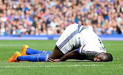 Kurt Zouma of Chelsea picks up an injury - Mandatory byline: Matt McNulty/JMP - 07966386802 - 12/09/2015 - FOOTBALL - Goodison Park -Everton,England - Everton v Chelsea - Barclays Premier League