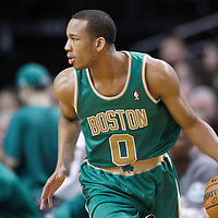 09 March 2012: Boston Celtics shooting guard Avery Bradley (0) dribbles during the Boston Celtics 104-86 victory over the Portland Trail Blazers at the TD Banknorth Garden, Boston, Massachusetts, USA.
