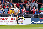 Christopher Routis scores Bradford's first goalduring the Capital One Cup match between York City and Bradford City at Bootham Crescent, York, England on 11 August 2015. Photo by Simon Davies.