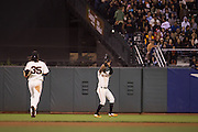 San Francisco Giants center fielder Denard Span (2) catches a fly ball against the Colorado Rockies at AT&T Park in San Francisco, Calif., on September 27, 2016. (Stan Olszewski/Special to S.F. Examiner)
