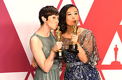 "Becky Neiman-Cobb and Domee Shi, winners of the Best Animated Short Film Awards for ""Bao"" at the 91st Annual Academy Awards (Oscars) presented by the Academy of Motion Picture Arts and Sciences.<br /> (Hollywood, CA, USA)"