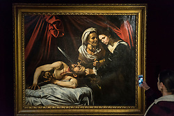 "© Licensed to London News Pictures. 01/03/2019. LONDON, UK.  The painting known as ""Judith and Holfernes"", c1607, by Caravaggio, is seen on display to the public for the first time after being discovered in an attic in Toulouse, France five years ago where it had lain forgotten for 100 years.  The rediscovered masterpiece, currently being exhibited at the Colnaghi Gallery in London, will be shown in Paris, New York and Toulouse, before being auctioned in Toulouse on 27 June 2019.  As is customary in France, no reserve has been placed on the artwork, but it has been reported that the painting may sell for in excess of £120m.  Photo credit: Stephen Chung/LNP"