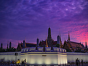 05 NOVEMBER 2016 - BANGKOK, THAILAND:  The Grand Palace in Bangkok just after sunset. Crowds of mourners continue to go to the palace to honor the King,  Bhumibol Adulyadej, nearly three weeks after his death.    PHOTO BY JACK KURTZ