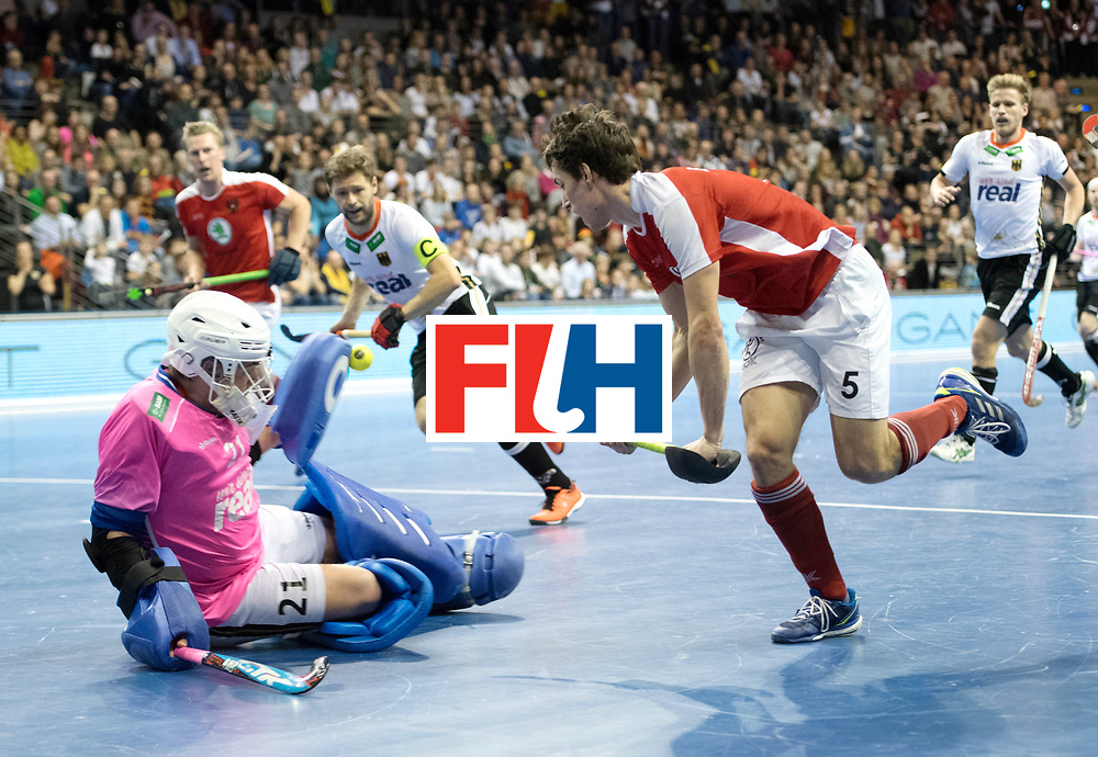 BERLIN - Indoor Hockey World Cup<br /> Final: Germany - Austria<br /> foto: Sebastian Eitenberger and Tobias Walter (GK)  <br /> WORLDSPORTPICS COPYRIGHT FRANK UIJLENBROEK